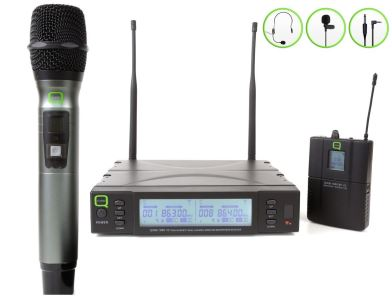 Q-Audio QWM 1960 HBP Twin Microphone System One Handheld One Beltpack Custom (KAM) Kit
