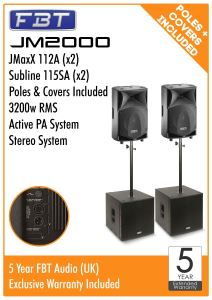 FBT JM2000 Active PA Package 3200w RMS 2x JMaxx 112A 2x Subline 115SA + Poles + Covers