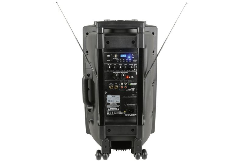 QTX QR12PA Battery Powered PA Speaker with 2 x Wireless Microphones SD card USB Playback