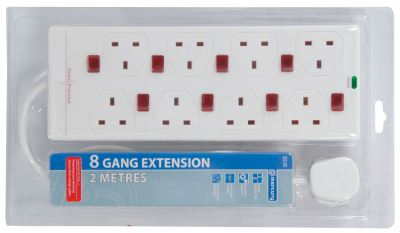 8way Suge protected 13 Amp Gang Socket Exetension