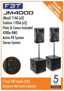 FBT JM4000 Active PA Package 4200w RMS 2x JMaxx 114A 2x Subline 118SA + Poles + Covers